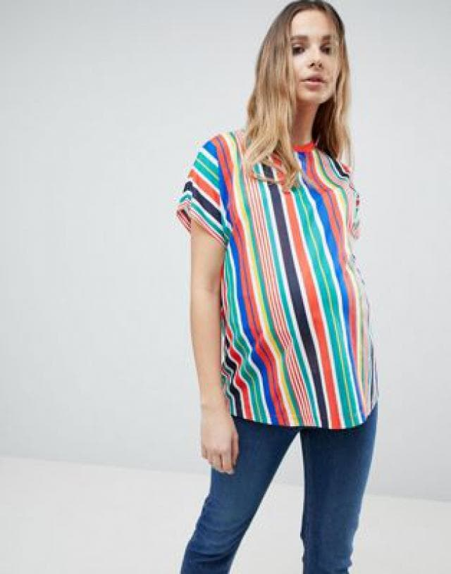 Hottest fashion for mothers expecting, vertical strip shirt, from Novant Health Providence OB/GYN